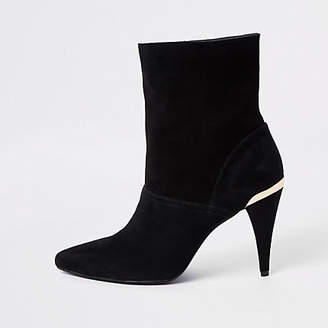 River Island Black suede slouch cone heel boots