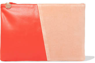 Clare V. - Two-tone Velvet And Leather Clutch - Bright orange $220 thestylecure.com