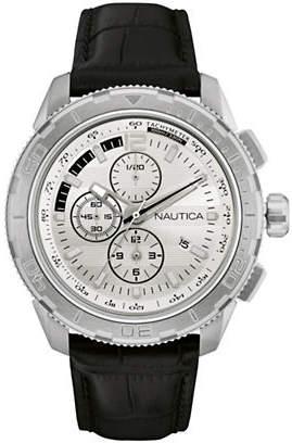 Nautica Chronograph Black Leather Strap Watch