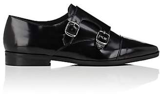 Barneys New York WOMEN'S LEATHER DOUBLE-MONK-STRAP SHOES - BLACK SIZE 6