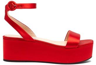 Prada Platform Satin Sandals - Womens - Red