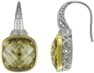 Siri Usa By Tjm SIRI USA by TJM 14k Gold Over Silver & Sterling Silver Champagne Quartz & Cubic Zirconia Drop Earrings