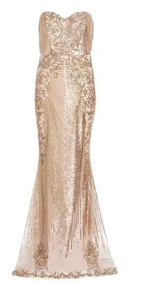 Quiz Gold Sequin Embellished Maxi Dress