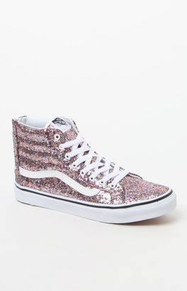 Vans Chunky Glitter Sk8-Hi Slim Zip Sneakers $85 thestylecure.com