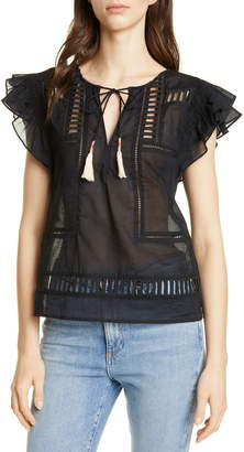 Dolan Cutout Detail Tassel Tie Cotton Blouse