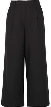 Matteau - Cropped Summer Cotton And Linen-blend Wide-leg Pants - Black