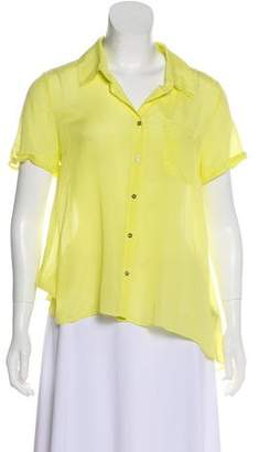 Elizabeth and James Silk-Blend Button-Up Top w/ Tags