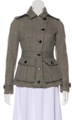 Burberry Leather-Accented Herringbone Jacket