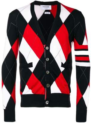 Thom Browne 4-Bar Argyle Merino V-Neck Cardigan