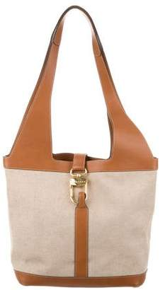 Delvaux Leather-Trimmed Canvas Bag