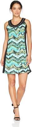 NY Collection Women's PRT Slvless Scoop Nk Midi Dress,um METROWAVE