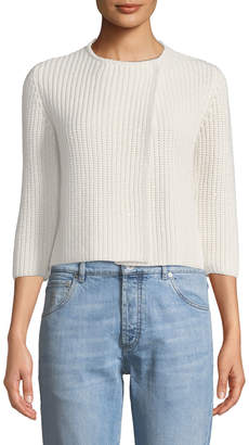 Brunello Cucinelli 3/4-Sleeve English-Rib Paillette Short Cardigan