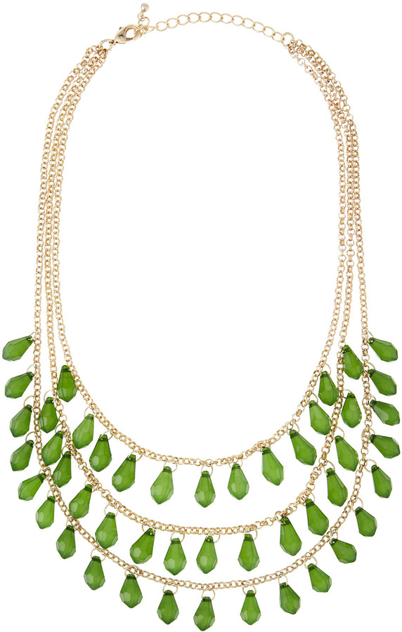 Fragments for Neiman Marcus Three-Strand Briolette Necklace, Green