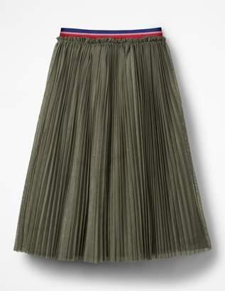 Boden Pleated Tulle Midi Skirt