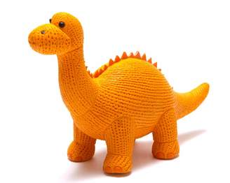 Best Years Original By Design My First Diplodocus Dinosaur Orange Natural Rubber Teether or Bath Toy. Suitable from Birth