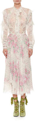 Ermanno Scervino Long-Sleeve Button-Front Floral-Print Ankle-Length Dress
