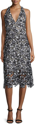 Alice + Olivia Noreen Floral Lace Midi Dress, Black/Gray $698 thestylecure.com