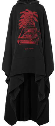 Palm Angels Oversized Printed Cotton-terry Hooded Cape - Black