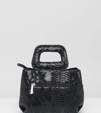 PrettyLittleThing top handle bag in black faux snake