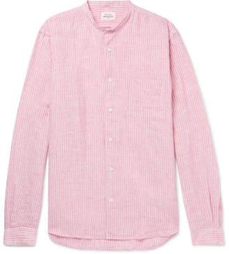 Hartford Grandad-Collar Striped Linen Shirt