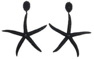 Oscar de la Renta Black Threaded Star Fish Earrings