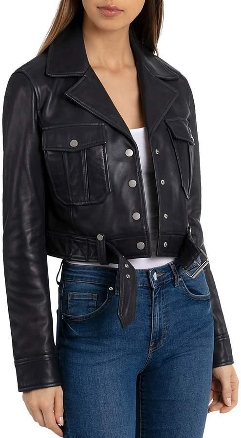 Bagatelle.nyc Cropped Leather Trucket Jacket