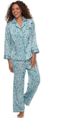 Miss Elaine Petite Essentials Paisley Satin Shirt & Pants Pajama Set