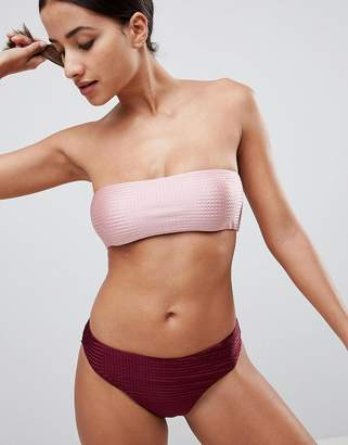Missguided Textured Bandeau Bikini Top