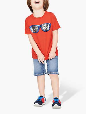 7addffefcf4 Boden Mini Boys' Colour Changing Sequin Sunglasses T-Shirt, Orange