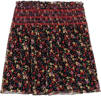Anna Sui - Smocked Printed Silk-crepon Mini Skirt - Black