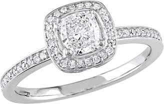 Affinity Diamond Jewelry Affinity 14K Gold 3/4 cttw Cushion-Cut DiamondHalo Ring