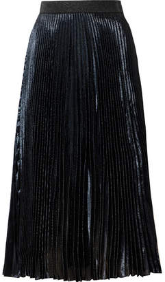 Christopher Kane Pleated Lamé Midi Skirt - Navy