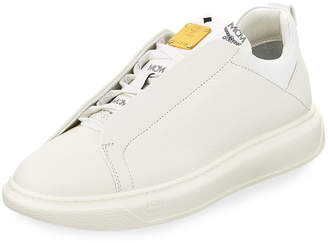MCM Men's Grain Leather Low-Top Sneakers with Visetos Trim