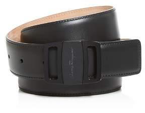 Salvatore Ferragamo Adjustable Calfskin Belt with Graphite Vara Buckle