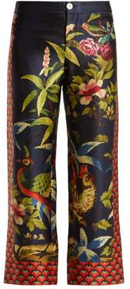 F.R.S – For Restless Sleepers F.r.s For Restless Sleepers - Ceo Jungle Print Silk Trousers - Womens - Navy Print