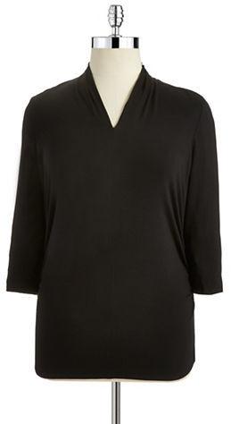 Vince Camuto Petite Asymmetrical V-Neck Shirt