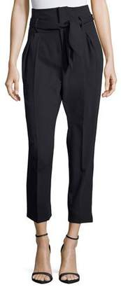 Iro Fisheri High-Waist Cropped Wool Pants, Black $465 thestylecure.com