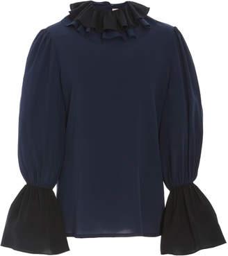 Tory Burch Color-Blocked Ruffled Silk Blouse