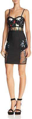 Wow Couture Sheer-Inset Embroidered Dress