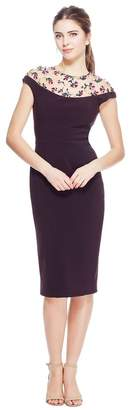 Lela Rose Stretch Canvas Tulle Yoke Fitted Dress