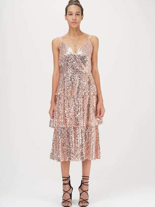 Shein Wrap Front Layered Sequin Prom Dress