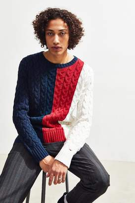 Tommy Jeans Colorblock Cable Knit Crew-Neck Sweater