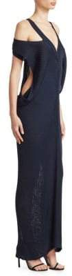Roberto Cavalli Off-Shoulder Rib-Knit Dress