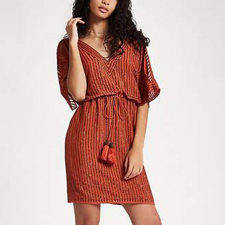 River Island Orange embellished cold shoulder mini dress
