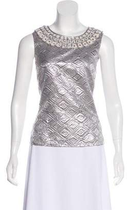 Tory Burch Embellished Metallic Top