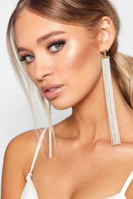 boohoo Extra Long Glitter Bead Statement Earrings
