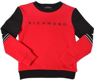 John Richmond Two Tone Logo Print Cotton Sweatshirt