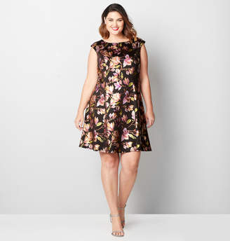 Avenue Foil Floral Fit and Flare Dress