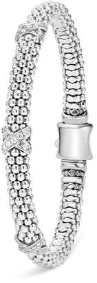 "Lagos Sterling Silver ""X Collection"" Rope Bracelet with Diamonds"
