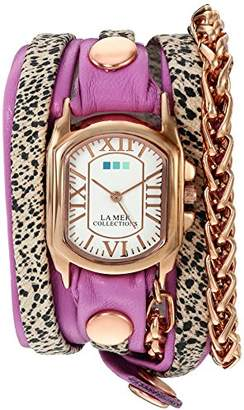 La Mer Women's 'Gold Motor Chain' Quartz and Leather Watch